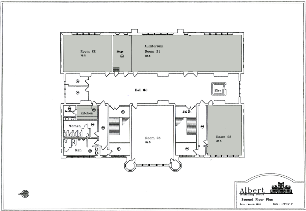 Albert Community Centre - Second Floor, Rooms 21, 22, 28 (click to enlarge)